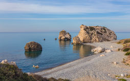 Seascape with Petra tou Romiou in Pafos, Cyprus. Royalty Free Stock Images
