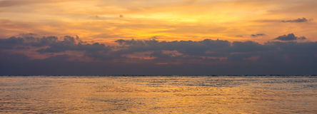Seascape photograph of Andaman sea with cloudy sky in the morning or evening Stock Photos