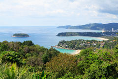 Seascape. Phuket Island, Thailand. View from the observation deck at the three beaches of Phuket, Thailand Stock Images