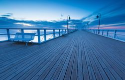 Seascape with pier. Molo in Orlowo, Gdynia Royalty Free Stock Image