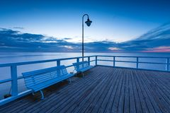 Seascape with pier. Molo in Orlowo, Gdynia Stock Photos