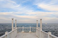 Seascape podczas zmierzchu w Odesa Ukraina Fotografia Stock