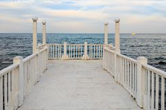 Seascape podczas zmierzchu w Odesa Ukraina Zdjęcie Stock