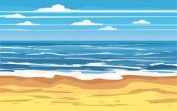 Seascape podróży wakacje wakacje czasu wolnego natury Tropikalny Plażowy pojęcie, ocean, morze, brzeg, wektorowa ilustracja royalty ilustracja