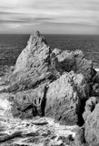 Seascape of Point Lobos in Black and White Royalty Free Stock Photo