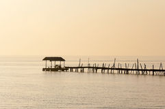 Seascape. With Pontoon and Wood Bridge Royalty Free Stock Photography