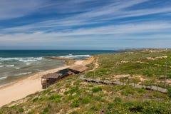 Seascape of the Portuguese village in summer. Villa Milfontes. Stock Photo