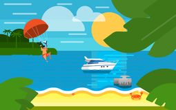 Seascape with Powerboat and Kiting Man. Summer banner vector illustration. Seascape with powerboat and kiting man with parachute. Summer beach with sea crab stock illustration