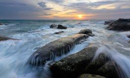 Seascape przy poradą Borneo, Sabah, Malezja Obrazy Stock