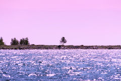 Seascape przy zmierzchem Fotografia Stock
