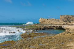 Seascape of punta las tunas at cueva del indio royalty free stock photo