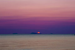 Seascape with Purple Sunset Royalty Free Stock Photo