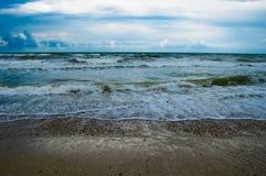 Seascape before the rain. Wild seascape on an overcast day Stock Photos