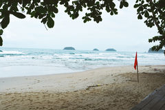 Seascape and red flag on beach with leaves Stock Image