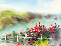Seascape with Red Flowers Watercolor Nature Illustration Hand Painted Stock Image
