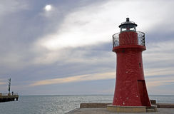 Seascape with red lighthouse Royalty Free Stock Photography