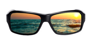 Seascape reflection in spectacles Stock Images