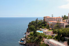 Seascape. Resort area on the coast of the Island Madeira stock photography