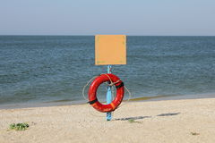 Seascape,ring buoy,lifebuoy Royalty Free Stock Photography