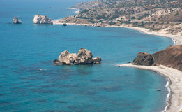 Seascape of the Rock of Aphrodite beach, Paphos, Cyprus Royalty Free Stock Photos