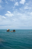 Seascape with rocks in sea at attraction in Samui Island, Thaila Royalty Free Stock Images
