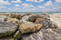 Seascape of rocks at sea coasr Stock Photo