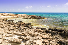 Seascape with rocks , shore of the Mediterranean Sea. Royalty Free Stock Images