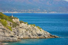 Seascape with rocky coastline at Bergeggi stock photo