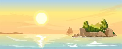Seascape with a small island. Seascape with rocky island overgrown with forests. Sunset