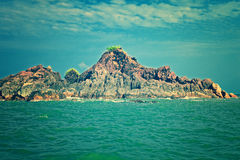 Seascape with a rocky island Royalty Free Stock Photos