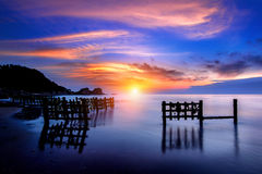 Seascape with row of wood. Royalty Free Stock Images
