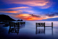 Seascape with row of wood. Stock Photo