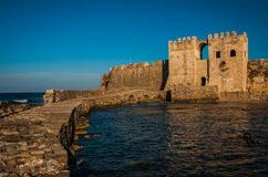 Seascape and ruins of fortress of Methoni, Peloponnese, Greece Stock Photography