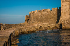 Seascape and ruins of fortress of Methoni, Peloponnese, Greece Royalty Free Stock Image