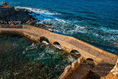 Seascape and ruins of fortress of Methoni, Peloponnese, Greece Stock Image