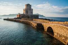Seascape and ruins of fortress of Methoni, Peloponnese, Greece Stock Photo