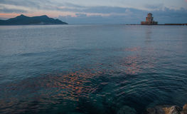 Seascape and ruins of fortress of Methoni, Peloponnese, Greece Royalty Free Stock Images