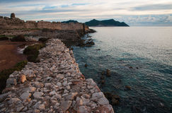 Seascape and ruins of fortress of Methoni, Peloponnese, Greece Royalty Free Stock Photography
