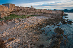 Seascape and ruins of fortress of Methoni, Peloponnese, Greece Stock Images
