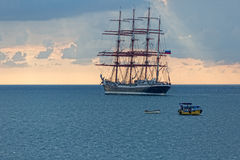 Seascape with russian sailboat Stock Photo