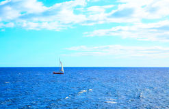 Seascape with sail boat Royalty Free Stock Images