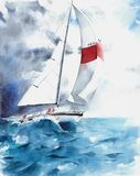 Seascape sail yacht boat waves storm weather watercolor painting illustration Royalty Free Stock Photos