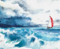 Seascape sail yacht boat waves storm weather watercolor painting illustration Royalty Free Stock Photo