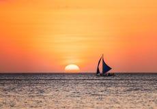 Seascape με sailboat Στοκ Εικόνες