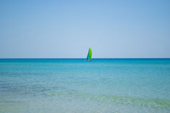 Seascape with Sailboat Stock Image