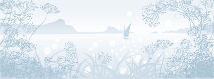 Seascape with sailboat. And herbs.Misty morning royalty free illustration