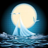 Seascape with sailboat. Illustration with sailboat floating against moon in the sky drawn in retro style stock illustration