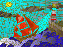 Seascape with sailboat and lighthouse stained glass style. Abstract landscape with a sailboat against the sky, waves and glowing beacon. Color version Royalty Free Stock Photography
