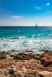 Seascape with Sailing Boat Stock Images