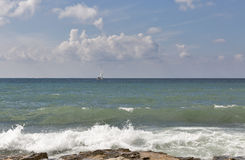 Seascape with sailing yacht in Istria, Croatia. Royalty Free Stock Photos